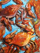 Crawfish Painting Posters - Crab Pile Poster by JoAnn Wheeler