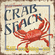 Blue White Prints - Crab Shack Print by Debbie DeWitt