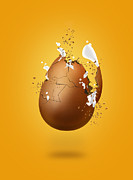 Whites Posters - Cracked Egg Poster by Andrea Aycock