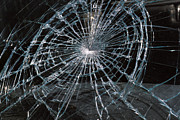 Impact Metal Prints - Cracked Glass Of Car Windshield Metal Print by Anonymous