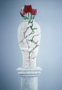 Flora Painting Prints - Cracked Urn Print by Lincoln Seligman