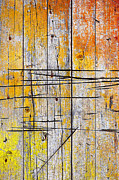 Yellow Line Prints - Cracked Wood Background Print by Carlos Caetano