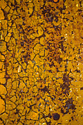 Rust Art - Cracked yellow paint by Garry Gay