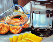 American Food Paintings - Crackers and Cheese by Rachel Lawson