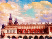 Gold Cloth Framed Prints - Cracow Cloth Hall Framed Print by Mo T