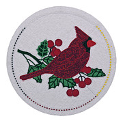 Seed Beads Prints - Cradleboard Beadwork Winter Cardinal Print by Douglas K Limon
