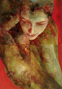 Red Female Nude Paintings - Cradlesong by Graham Dean