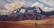 Donkey Pastels Prints - Craggy Mountains Print by Marion Derrett