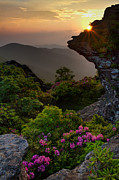 Craggy Gardens Framed Prints - Craggy Pinnacle Sunset Framed Print by Bruce Siulinski