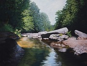 Original For Sale Pastels Prints - Cranberry River Print by Angela Robey