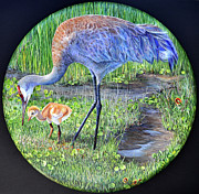 Crane Painting Originals - Crane Circle by AnnaJo Vahle