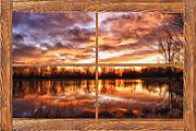 Colorful Photos Prints - Crane Hollow Sunrise Barn Wood Picture Window Frame View Print by James Bo Insogna