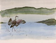 River Tapestries - Textiles Prints - Crane in Fog Print by Carolyn Doe