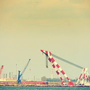 Tower Crane Framed Prints - Cranes Framed Print by Gabriela Insuratelu