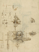 Engineering Drawings Prints - Crank spinning machine with several details Print by Leonardo Da Vinci