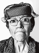 Old Hat Posters - Cranky Old Lady Poster by Diane Diederich