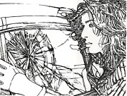Windshield Drawings - Crash Test Annie by Kathleen Bischoff