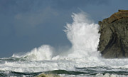Haystack Rocks Prints - Crashing Surf Print by Bob Christopher