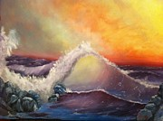 Crashing Surf Paintings - Crashing Surf by Roy J Moyle