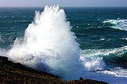 Sennen Cove Photos - Crashing Wave by Terri  Waters