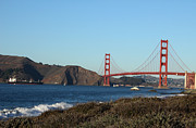 Crashing Waves And The Golden Gate Bridge Print by Linda Woods