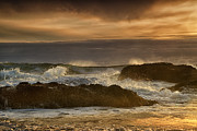 Waves Photos - Crashing Waves at Sunset by Andrew Soundarajan
