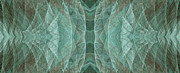 Lines Of Energy Prints - Crashing Waves Of Green 2 - Panorama - Abstract - Fractal Art Print by Andee Photography