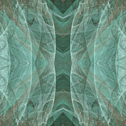 Lines Of Energy Prints - Crashing Waves Of Green 4 - Square - Abstract - Fractal Art Print by Andee Photography