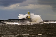 Blyth Prints - Crashing waves on Cambois Pier Print by Jim Jones