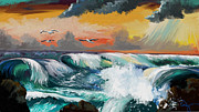 Sea Paintings - Crashing Waves by Sandra Aguirre