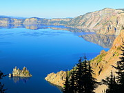Autumn Photographs Mixed Media Prints - Crater Lake National Park - Phantom Ship Print by Photography Moments - Sandi
