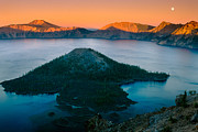 Crater Lake Sunset Photos - Crater Lake Sunset by Inge Johnsson