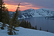 Crater Lake Twilight Framed Prints - Crater Lake Sunset Framed Print by Stuart Gordon