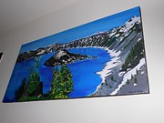 Crater Lake Paintings - Crater lake USA by Nivedita Newar