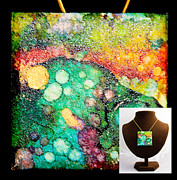 Ocean Jewelry Prints - Crater Mountain Necklace Print by Alene Sirott-Cope