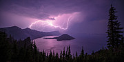 Crater Lake Panorama Posters - Crater Storm Poster by Chad Dutson