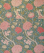 Pink Flowers Tapestries - Textiles Prints - Cray Print by William Morris