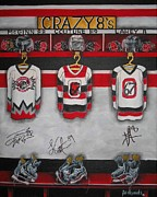 Hockey Painting Posters - Crazy 8s Poster by Jill Alexander