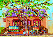 Country Store Painting Framed Prints - Crazy About Cupcakes Pointe Claire Village Artisan Shops  Saint Anne De Bellevue Montreal  Framed Print by Carole Spandau