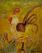 Louise Burkhardt Painting Metal Prints - Crazy chicken Metal Print by Louise Burkhardt