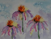 Drippy Paintings - Crazy Cone Flowers by Gretchen Bjornson