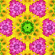 Petals Art Mixed Media - Crazy Daises - Spring Flowers - Bouquet - Gerber Daisy Wanna Be - Kaleidoscope 1 by Andee Photography