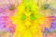 Crazy Mixed Media Prints - Crazy Daises - Spring Flowers - Bouquet - Wind Blown - Abstract 3 Print by Andee Photography