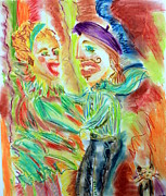 Yellows Pastels Prints - Crazy Dancing in Paris Print by Elizabeth Cassidy