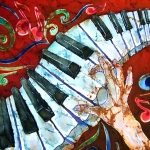 Celebrities Tapestries - Textiles Prints - Crazy Fingers Piano Square Print by Sue Duda