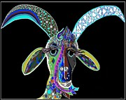 Farmer Mixed Media Prints - CRAZY GOAT on Black Background Print by Eloise Schneider