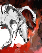 Wild Horse Metal Prints - Crazy horse 7 Metal Print by Angel  Tarantella