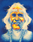 Native American Mixed Media Framed Prints - Crazy Man Framed Print by Robert Martinez