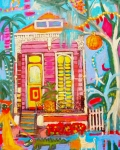 Mardi Gras Paintings - Crazy Pink Shotgun House by Linda Morgan Smith