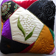 Featured Tapestries - Textiles Metal Prints - Crazy quilt pillow Metal Print by Reta Haube